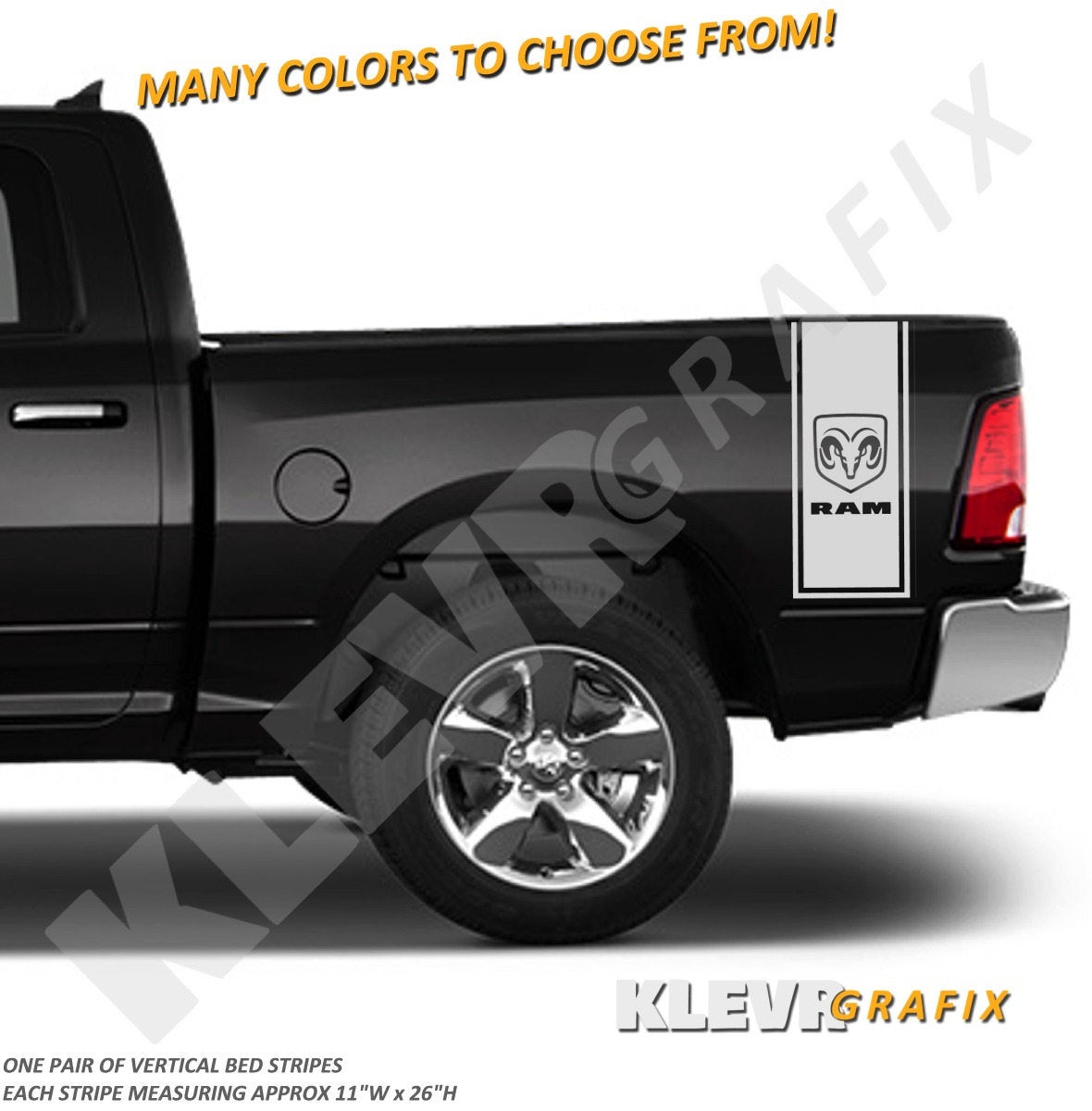 Details about ram emblem truck rear vertical half bed stripes vinyl decal graphics racing 1500