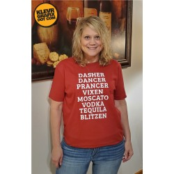 Reindeer Names Adult Christmas Booze T-Shirt